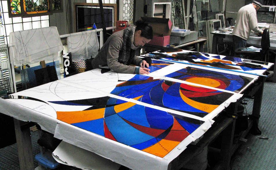 Hand painted contemporary church windows.