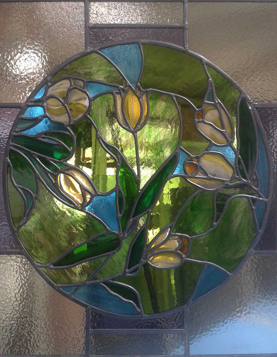 Hand painted and etched glass