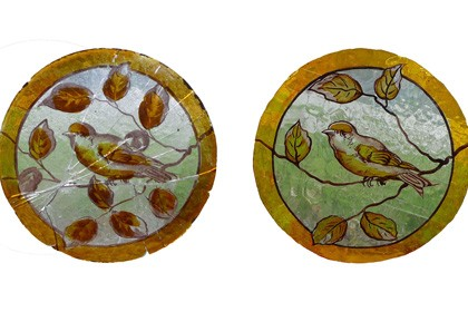 Reproduction hand painted bird roundel using traditional kiln fired paints and stains.