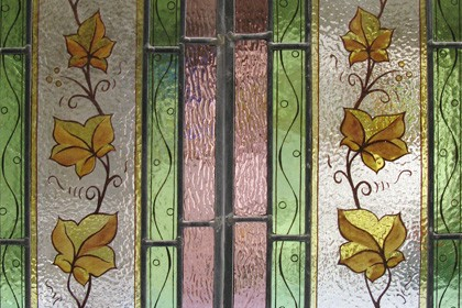 hand painted windows to match original glass in period property