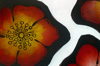 Painted, etched and stained flowers to replace broken pieces in original Victorian leaded light.