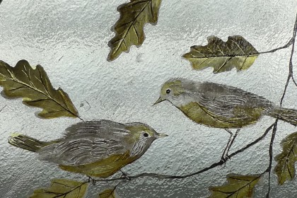 Reproduction painted and stained birds for restored Victorian window.