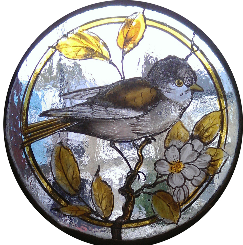 Set of reproduction Victorian painted and stained bird roundels.