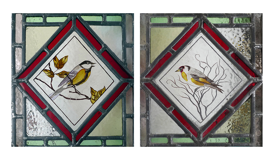 Hand painted and stained pair of birds for period windows.