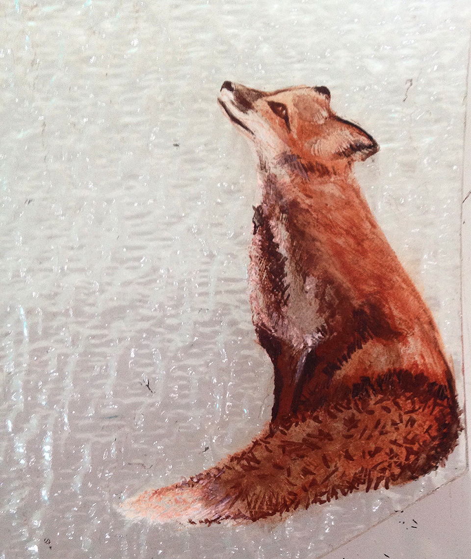 Painted fox for leaded light.